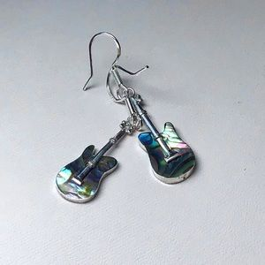 Jewelry - 🌺Sterling and Abalone Guitar Earrings